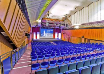 View of the stage from the back of the Great Hall theatre in the Sherfield Building South Kensington