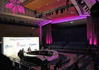 An example of how the flat floor space can be used for an event in the Great Hall