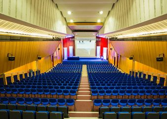 Tiered seating looking at projector in Great Hall Lecture Theatre