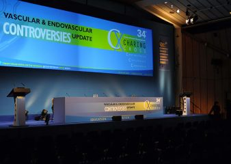 Conference stage set up in The Great Hall South Kensington