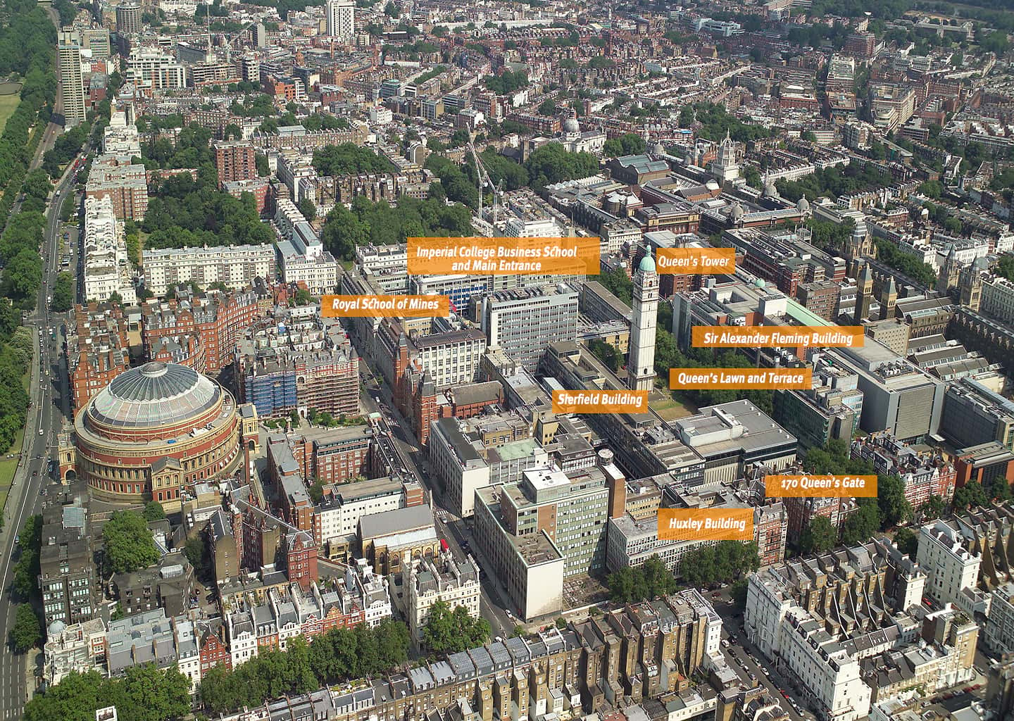 Imperial College South Kensington Campus from above