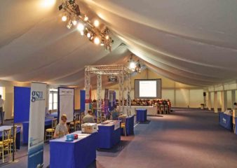 Exhibition with AV and lighting on the Queen's Lawn in a Marquee