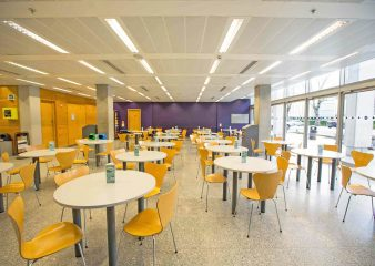 Café area of the foyer and concourse venue for hire at the Sir Alexander Fleming building in London