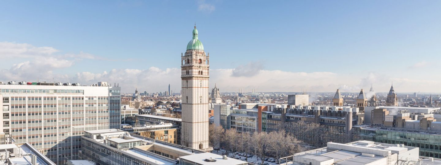 Aerial photo of Imperial College's Queen's Tower